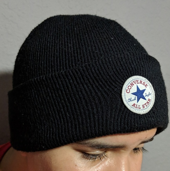 28b9aee9 Converse Accessories | Chuck Taylor Allstar Black Beanie Hat | Poshmark